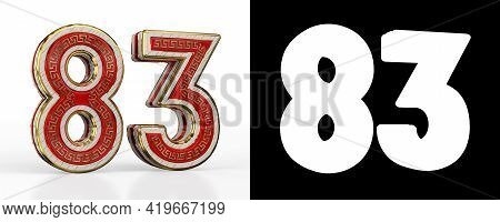Number Eighty-three (number 83) With Red Transparent Stripe On White Background, With Alpha Channel.