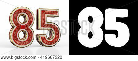 Number Eighty-five (number 85) With Red Transparent Stripe On White Background, With Alpha Channel.