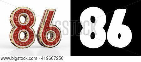 Number Eighty-six (number 86) With Red Transparent Stripe On White Background, With Alpha Channel. 3