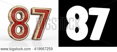 Number Eighty-seven (number 87) With Red Transparent Stripe On White Background, With Alpha Channel.