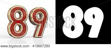 Number Eighty-nine (number 89) With Red Transparent Stripe On White Background, With Alpha Channel.