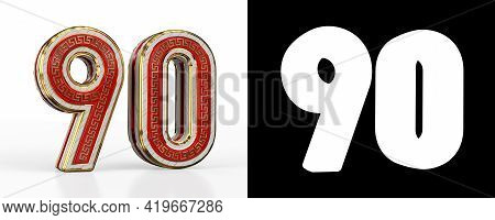 Number Ninety (number 90) With Red Transparent Stripe On White Background, With Alpha Channel. 3d Il