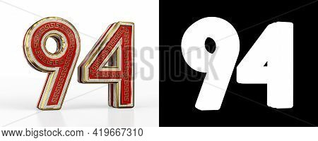 Number Ninety-four (number 94) With Red Transparent Stripe On White Background, With Alpha Channel.