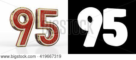 Number Ninety-five (number 95) With Red Transparent Stripe On White Background, With Alpha Channel.