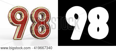 Number Ninety-eight (number 98) With Red Transparent Stripe On White Background, With Alpha Channel.