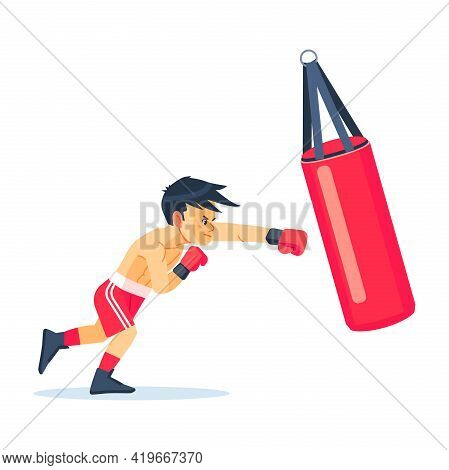Cute Boy Or Young Boxer Dressed In Sportswear Training With Punching Bag Isolated On White Backgroun