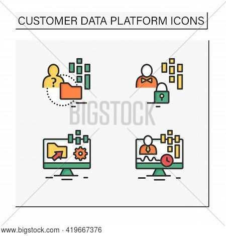Customer Data Platform Color Icons Set. Real-time Client, Anonymous, Customer Data Concepts. Isolate