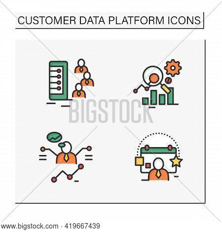 Customer Data Platform Color Icons Set. Client Database, Measurement Analytics, Predictions, Events.
