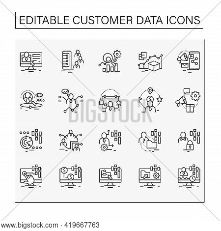 Customer Data Platform Line Icons Set. Consists Of Real-time Data, Behavioral, Marketing Companies E