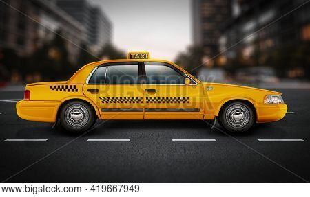 Yellow Taxi Cab Isolated On White Background. 3d Illustration.