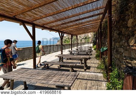 Liguria, Italy, June 2020. The Scenic Path Via Dell'amore That Connects The Cinque Terre. Three Tour