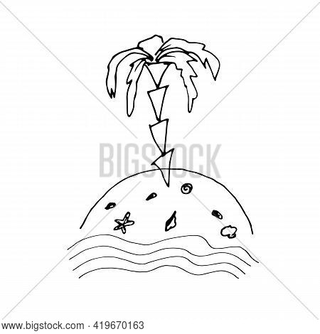 An Uninhabited Island With Palm Trees, Sand And Shells. Vector Childrens Illustration. A Set For Chi