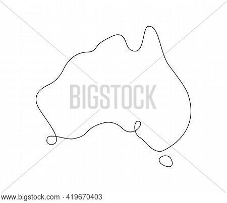 Line Art Australia Map. Continuous Line. Vector Illustration.