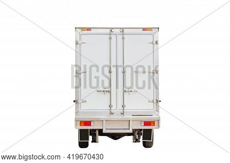 Rearview White Delivery Van With Clipping Path On White Background, Cargo Van Delivery Truck Vehicle