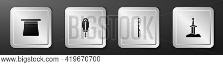 Set Magic Hat, Sword In Fire, Wand And Sword The Stone Icon. Silver Square Button. Vector