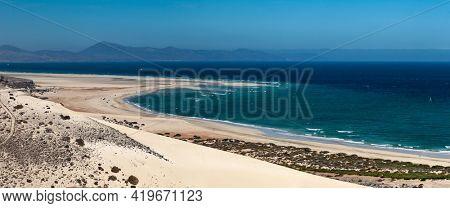 Panorama sea beach landscape of the island of Fuerteventura, Canary Islands