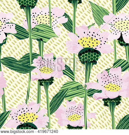 Flower Garden Seamless Background Vector Pattern Illustration In A Abstract Naive Style. Colorful An