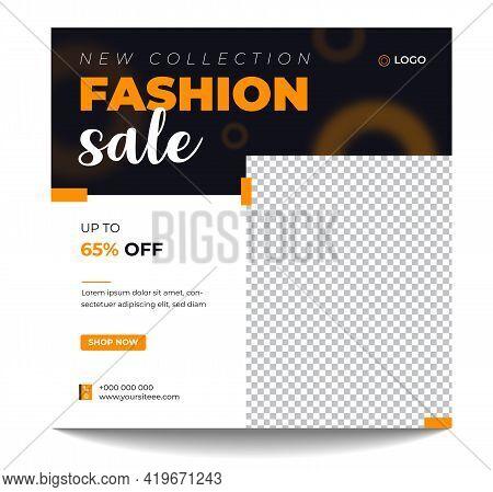 Creative Vector Fashion Sale Social Media Post Banner Design Template. Editable Minimal Square Banne