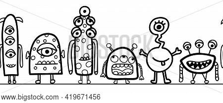 Seamless Monster Border Vector. Repeating Cute Aliens And Monsters Horizontal Repeating Pattern Blac