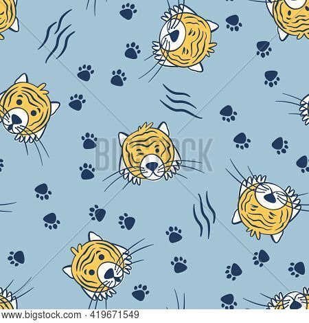 Cute Tiger Portraits Seamless Pattern. Cheerful Drawing For The Design Of Children's Fabric. Portrai