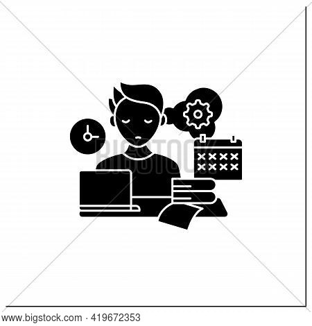 Defier Procrastinator Glyph Icon.avoid New Tasks. Finding Reasons Not Complete Tasks.procrastination