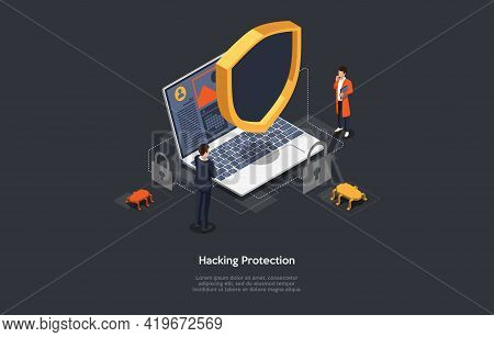 Conceptual Illustration On Hacking And Viruses Protection Idea. Characters, Elements And Writing. 3d