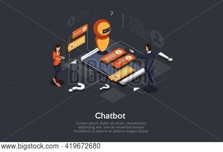 Isometric Illustration. Vector Cartoon 3d Style Design With Elements And People. Modern Chatbot Auto