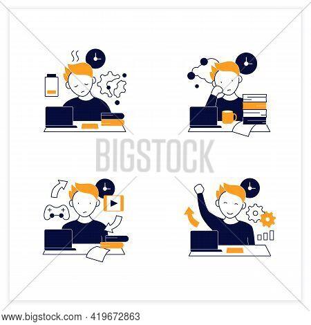 Procrastination Flat Icons Set. Fatigue, Work Procrastinating, Habits, Overcome Procrastination. Ove