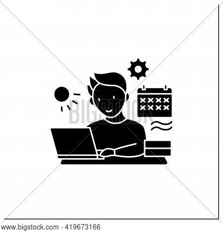 Workaholic Glyph Icon.work Through Vocation, Overtime. Work Despite Calendar Days Off. Man At Laptop