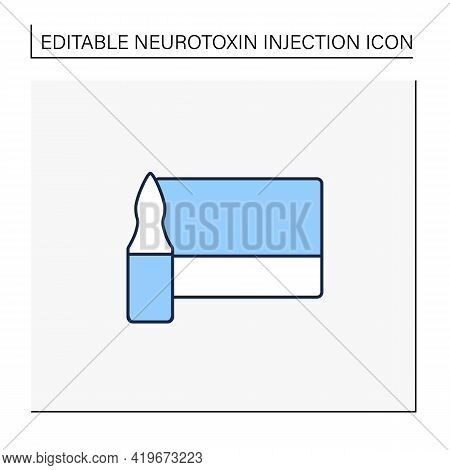 Cosmetic Injection Line Icon.full Medicine Vial.vaccination.packaging With Beauty Injections.cosmeti