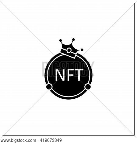 Nft Glyph Icon. Non Fungible Token. Unique Digital Assets. Assets Exist In Their Own Cryptosystems.