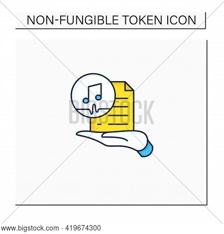 Work Ownership Color Icon. Music. Copyright.control Intellectual Property In Creative Environment. D