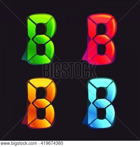B Letter Logo In Alarm Clock Style. Digital Font In Four Color Schemes For Futuristic Company Identi