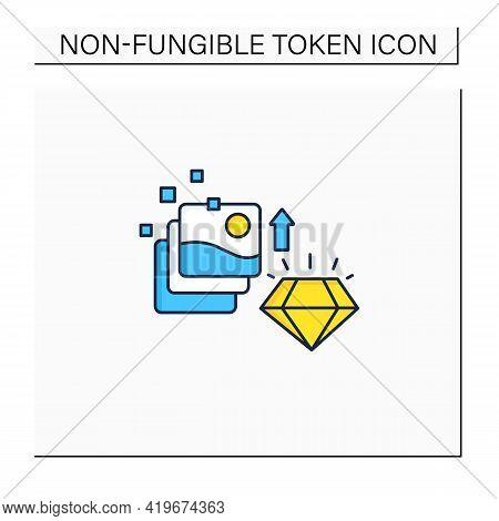 Digital Art Color Icon. Fine Digital Art Collection Evolution. Profitable Growth. High Quality Pictu