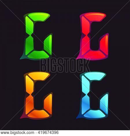 G Letter Logo In Alarm Clock Style. Digital Font In Four Color Schemes For Futuristic Company Identi