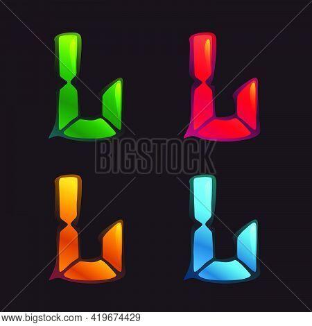 L Letter Logo In Alarm Clock Style. Digital Font In Four Color Schemes For Futuristic Company Identi