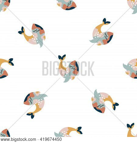 Abstract Seamless Pattern With Colorful Whales On White Background