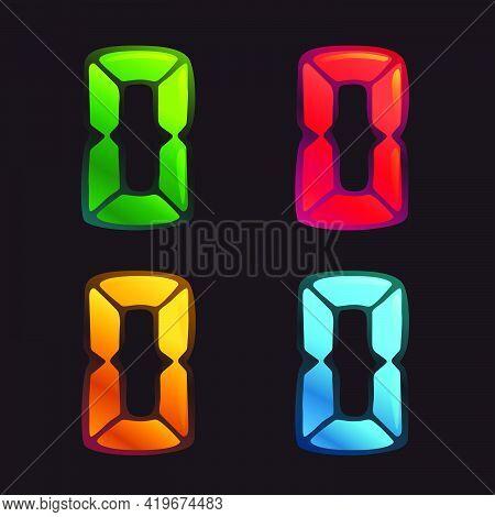 O Letter Logo In Alarm Clock Style. Digital Font In Four Color Schemes For Futuristic Company Identi