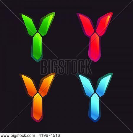 Y Letter Logo In Alarm Clock Style. Digital Font In Four Color Schemes For Futuristic Company Identi