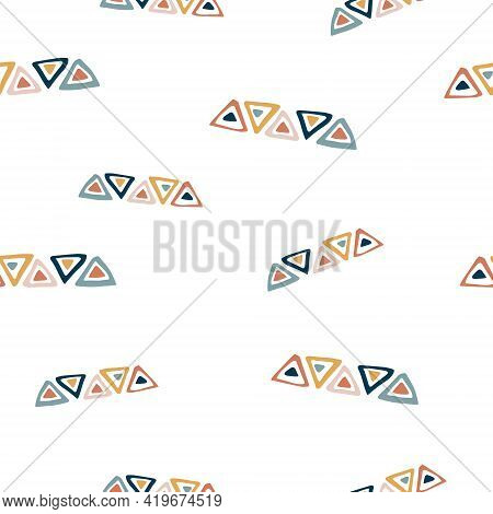 Abstract Seamless Pattern With Colorful Geometric Shapes, Bright Vector Illustration
