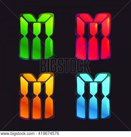 M Letter Logo In Alarm Clock Style. Digital Font In Four Color Schemes For Futuristic Company Identi