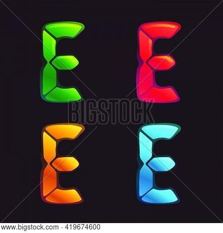 E Letter Logo In Alarm Clock Style. Digital Font In Four Color Schemes For Futuristic Company Identi