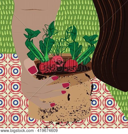 Home Gardening Illustration Of Radishes Growing In A Pot. Grow Your Own Food In Containers Concept.