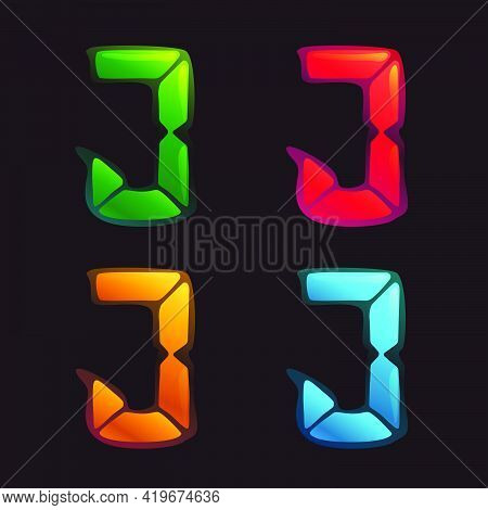 J Letter Logo In Alarm Clock Style. Digital Font In Four Color Schemes For Futuristic Company Identi