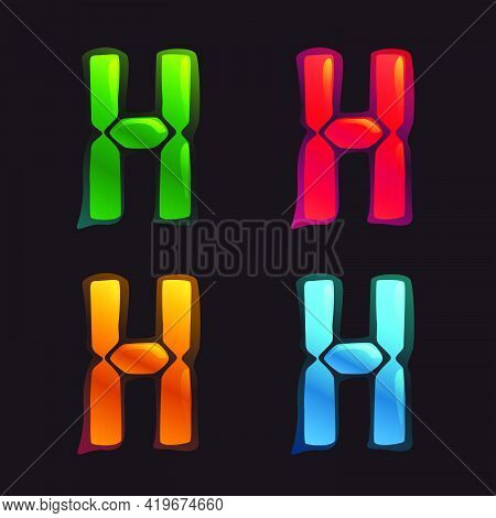 H Letter Logo In Alarm Clock Style. Digital Font In Four Color Schemes For Futuristic Company Identi