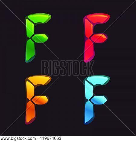 F Letter Logo In Alarm Clock Style. Digital Font In Four Color Schemes For Futuristic Company Identi