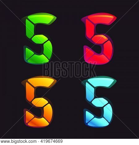 Number Five Logo In Alarm Clock Style. Digital Font In Four Color Schemes For Futuristic Company Ide