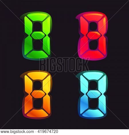 Number Eight Logo In Alarm Clock Style. Digital Font In Four Color Schemes For Futuristic Company Id