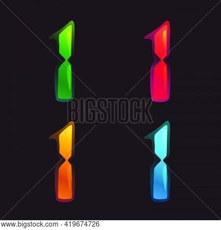 Number One Logo In Alarm Clock Style. Digital Font In Four Color Schemes For Futuristic Company Iden
