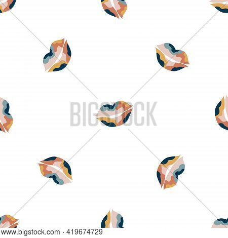 Abstract Seamless Pattern With Pastel Colorful Lips